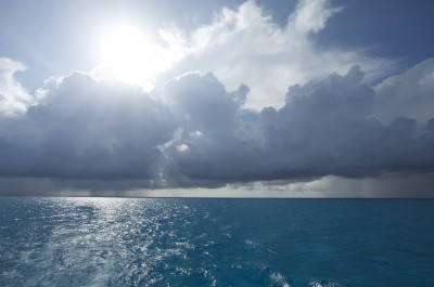Ocean, sun and clouds